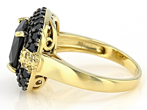 Black Spinel 18k Gold Over Silver Ring 5.69ctw