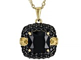 Black Spinel 18k Gold Over Silver Pendant With Chain 5.94ctw