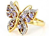 Blue tanzanite 18k gold over silver butterfly ring 1.06ctw