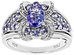 Blue Tanzanite Rhodium Over Silver Ring 1.27ctw