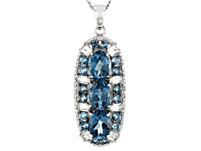 London Blue Topaz Rhodium Over Silver Pendant With Chain 5.53ctw