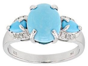 Blue turquoise rhodium over silver ring .08ctw