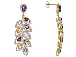 Multi-Gemstone 18k Gold Over Silver Earrings 3.87ctw