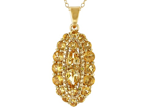 Yellow citrine 18k gold over silver pendant with chain 2.14ctw