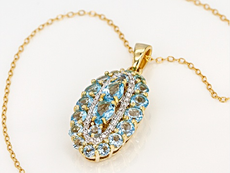Swiss blue topaz 18k gold over silver pendant with chain 2.95ctw