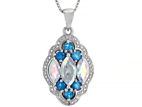 Multi-Color Mercury Mist® Topaz Rhodium Over Silver Pendant with Chain 2.79ctw