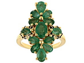 Green Emerald 18k Gold Over Silver Ring 3.19ctw