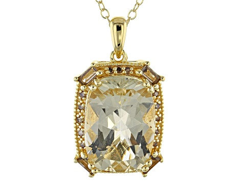 Yellow Labradorite 18k Gold Over Silver Pendant With Chain 5.16ctw