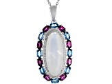 White Rainbow Moonstone Rhodium Over Silver Enhancer with Chain 3.97ctw