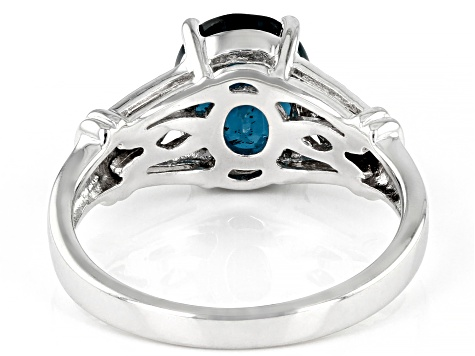 Teal Chromium Kyanite Rhodium Over Silver Ring 2.74ctw