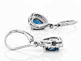 Blue Chromium Kyanite Rhodium Over Silver Earrings 1.38ctw