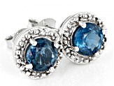 Blue Chromium Kyanite Rhodium Over Silver Earrings 1.71ctw