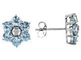 Blue zircon rhodium over sterling silver earrings 3.94ctw