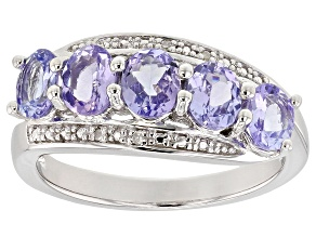 Blue tanzanite rhodium over sterling silver ring 1.45ctw