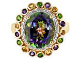 Mystic Fire® Green Topaz 18k Gold Over Silver Ring 5.53ctw