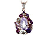 Lavender amethyst 18k rose gold over silver pendant with chain 4.48ctw