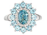 Blue zircon rhodium over sterling silver ring 2.93ctw