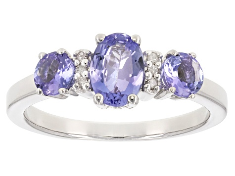 Blue tanzanite rhodium over sterling silver ring 1.11ctw