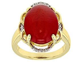 Red coral 18k yellow gold over silver ring .01ctw