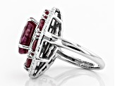 Red ruby rhodium over sterling silver ring 8.70ctw
