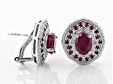 Red ruby rhodium over silver earrings 3.58ctw