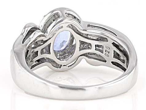 Blue Tanzanite Rhodium Over Silver Ring 1.02ctw