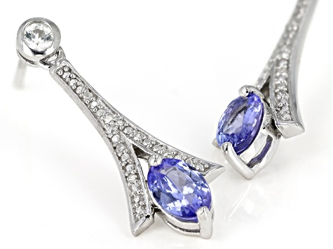 Blue Tanzanite Rhodium Over Silver Earrings .90ctw