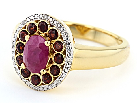 Red ruby 18k gold over silver ring 1.34ctw