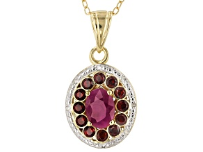 Red ruby 18k gold over silver pendant with chain 1.34ctw