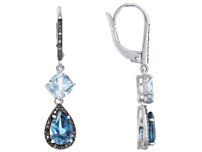 London blue topaz rhodium over silver earrings 4.98ctw