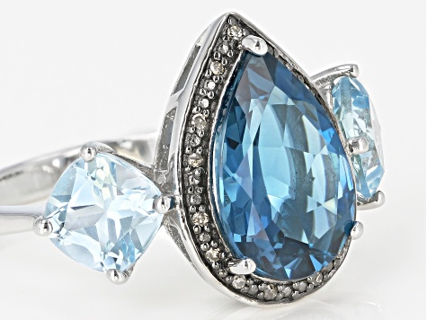 London blue topaz rhodium over silver ring 5.95ctw