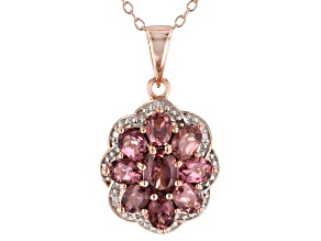 Color shift garnet 18k rose gold over silver pendant with chain 2.04ctw