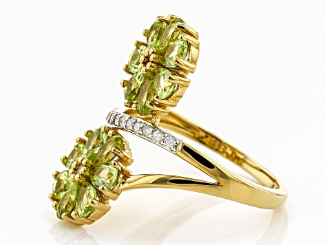 Green peridot 18k gold over silver ring 2.09ctw