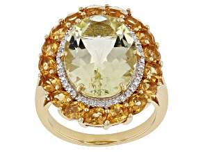 Yellow Labradorite 18k Gold Over Silver Ring 8.60ctw