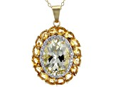 Yellow Labradorite 18k Gold Over Silver Pendant with Chain 6.13ctw