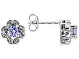 Blue Tanzanite Rhodium Over Silver Earrings .49ctw