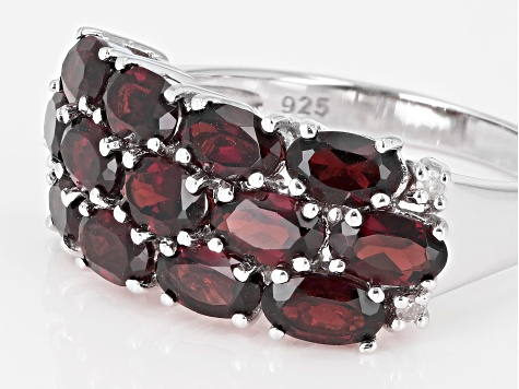 Red garnet rhodium over silver ring 3.23ctw