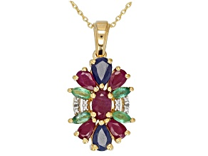 Red Ruby 18k Gold Over Silver Pendant With Chain 2.39ctw