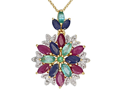 Multi-Gem 18k Gold Over Silver Pendant With Chain 3.33ctw