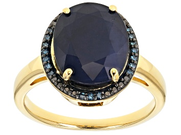 Picture of Blue sapphire 18k yellow gold over silver ring 4.86ctw