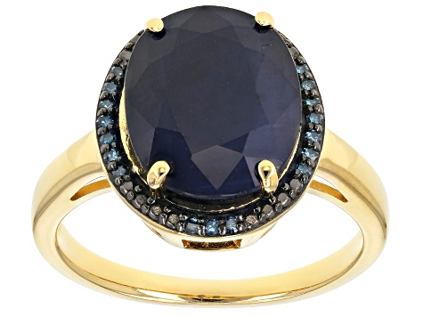 Blue sapphire 18k yellow gold over silver ring 4.86ctw