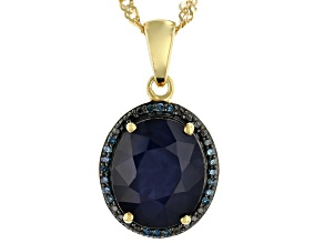 Blue sapphire 18k gold over silver pendant with chain 4.86ctw