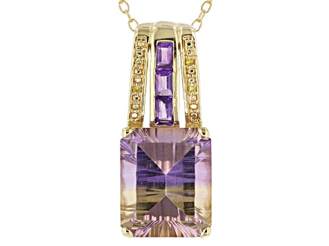 Bi-Color Ametrine 18k Yellow Gold Over Silver Pendant with Chain 5.13ctw