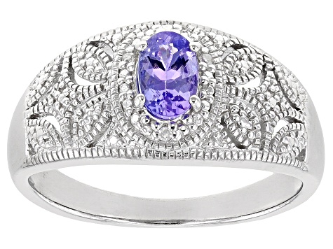 Blue tanzanite rhodium over silver ring .39ctw