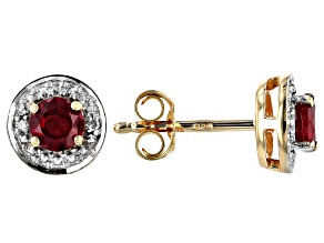 Red Ruby 18k Gold Over Silver Earrings .65ctw