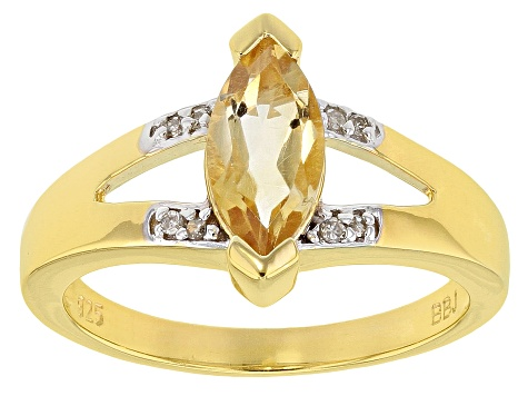 Yellow citrine  18k gold over sterling silver ring .90ctw