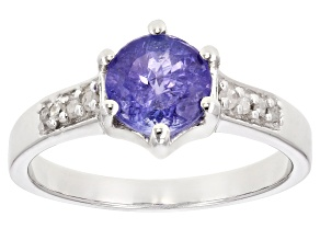 Blue tanzanite rhodium over sterling silver ring 1.04ctw