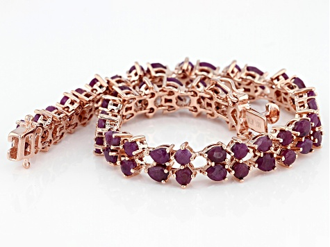 Red ruby 18k rose gold over silver bracelet 12.55ctw