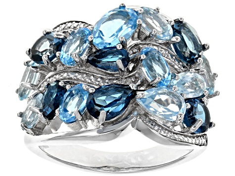 Blue Topaz Rhodium Over Silver Ring 4.77ctw