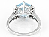 Sky blue topaz rhodium over silver ring 4.05ctw